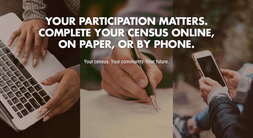 """An image of a keyboard, a hand writing, and someone holding a cellphone. Text overlay reads, """"You participation matters. Complete your census online, on paper, or by phone."""""""