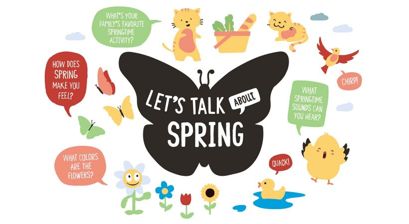 Let's Talk about Spring graphic with flowers, butterflies, and more.