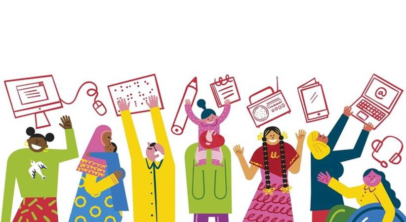 Illustration of people and objects. UNESCO's ILD image.