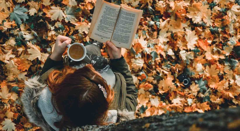 Person reading under a tree in autumn holding a mug