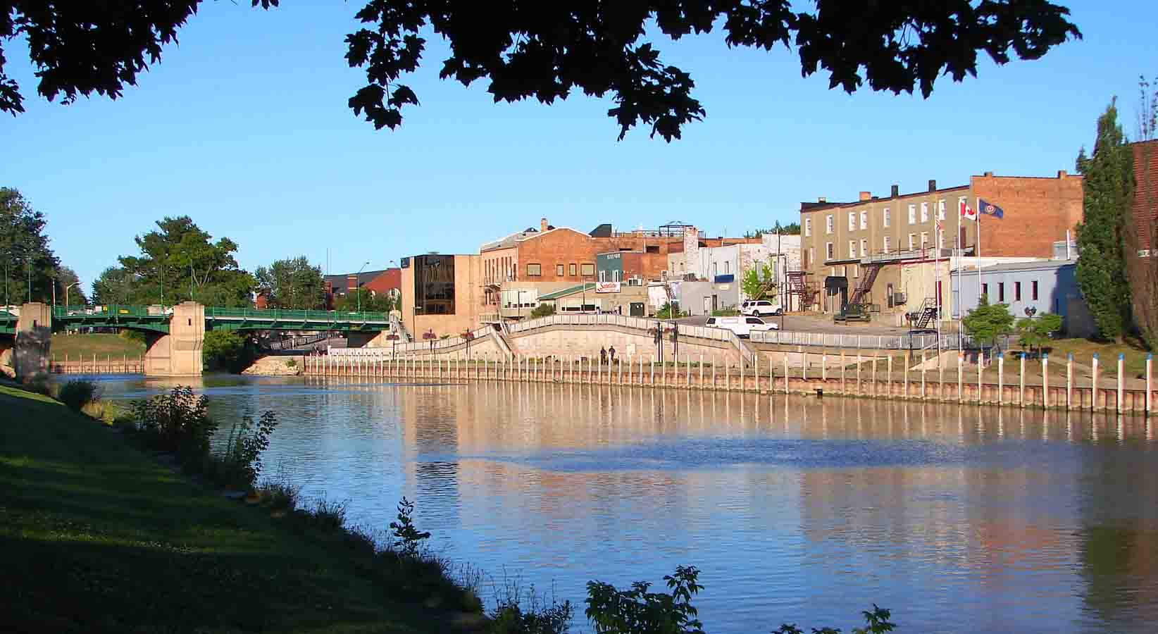 View of buildings along the river at Chatham, Ontario.