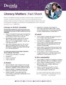 Literacy Matters Fact Sheet August 2018 Page 1