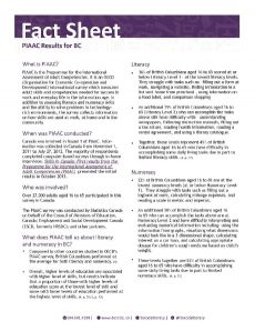 PIAAC Results for BC Fact Sheet July2018 Page 1