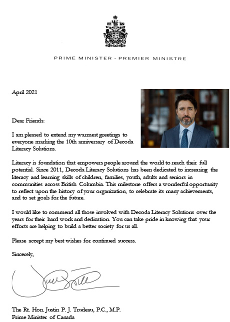 Letter of congratulations from the Prime Minister, Justin Trudeau.