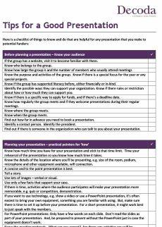 Tips for a Good Presentation