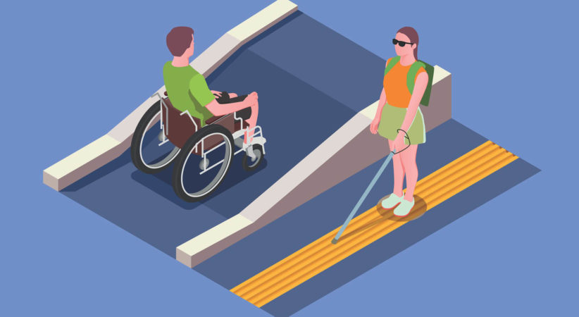 Graphic showing a man in a wheelchair on a ramp and a blind woman using a cane.